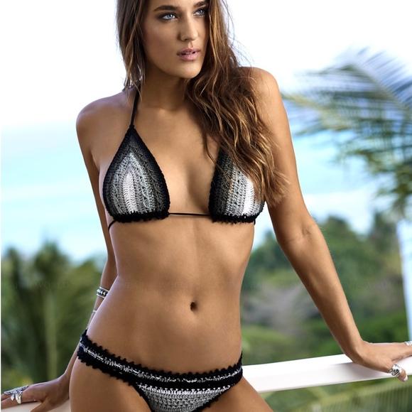 eb7d4472ad PilyQ Black Crochet Stardust Triangle Bikini Set